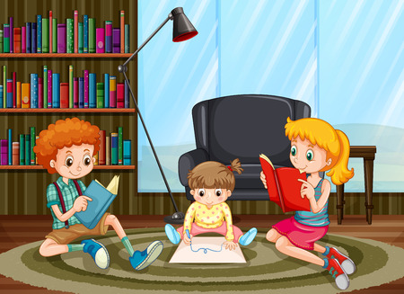 children room: Children reading and drawing in the room illustration