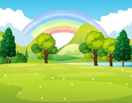 clouds: garden: Nature scene of a park with rainbow illustration