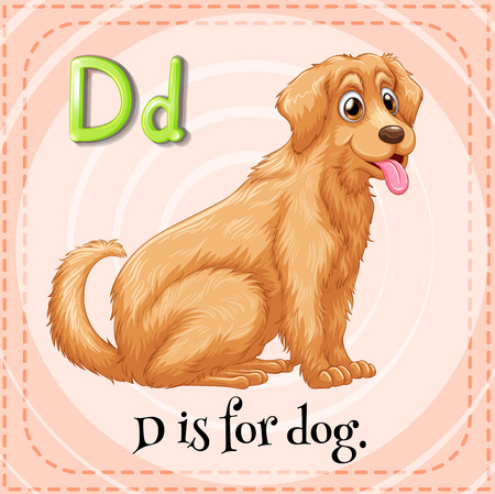 golden retriever puppy: Flashcard letter D is for dog illustration