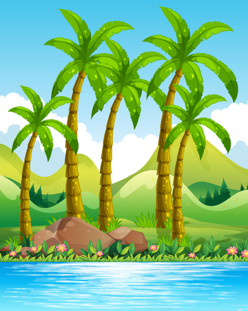 coconut trees: River scene with coconut trees illustration