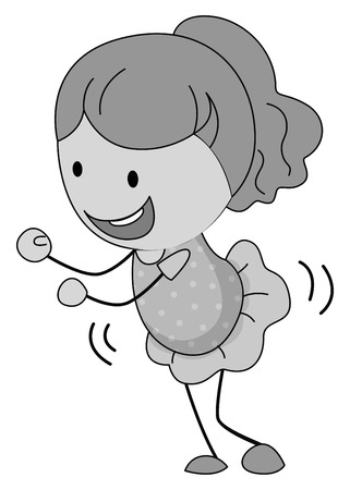 movement: Little girl in skirt dancing illustration Illustration