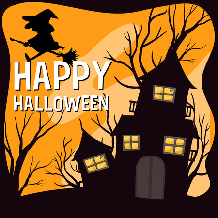 spooky house: Halloween theme with witch and haunted house illustration