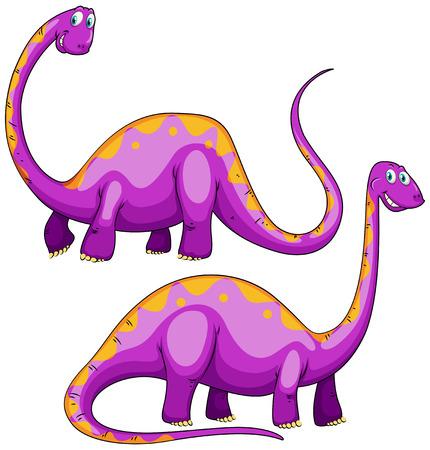 dinosaur clipart: Two purple dinosaurs smiling illustration