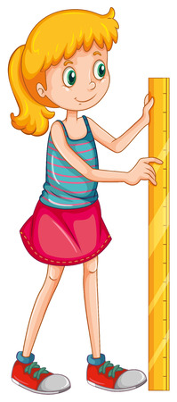 height: Girl measuring height with a ruler illustration