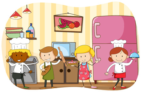 baking: Chef and bakers working in the kitchen illustration Illustration