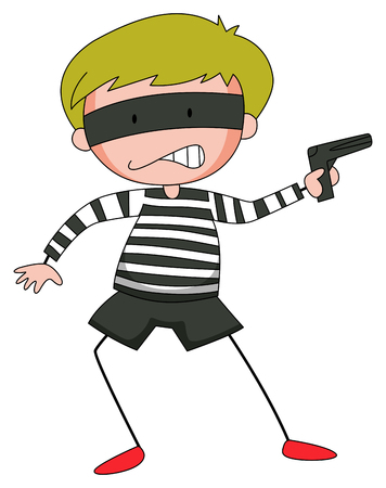 riffle: Robber with mask firing  gun illustration