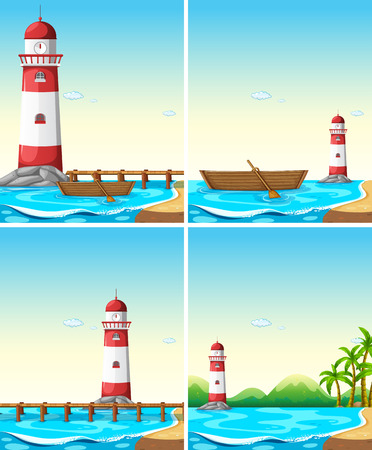 near: Set of lighthouse from different angle illustration