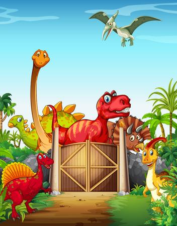 dinosaurio caricatura: Dinosaurios en un ejemplo del parque de dinosaurios