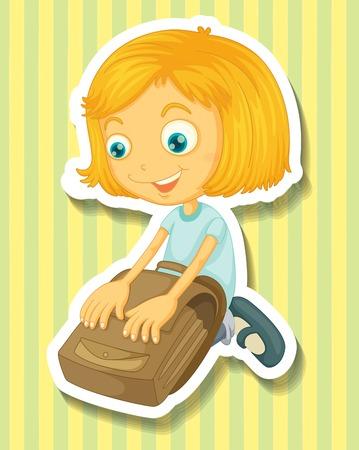 packing: Girl packing her schoolbag illustration Illustration