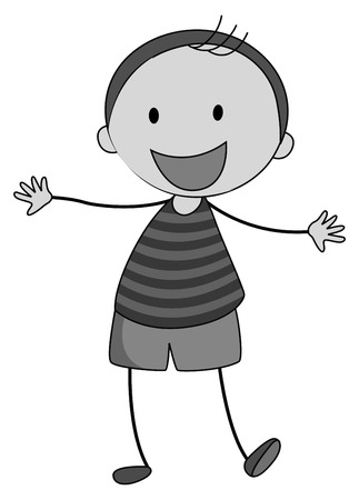 alone: Little boy smiling alone illustration