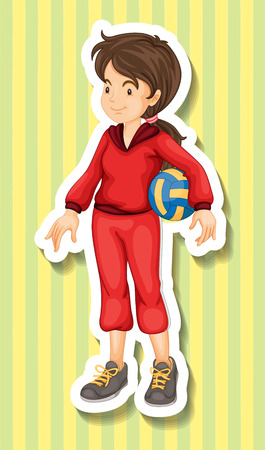 women working out: Woman in jumpsuit holding volleyball illustration