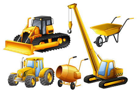 cartoon tractor: Tractor and other vehicles used in construction site illustration Illustration