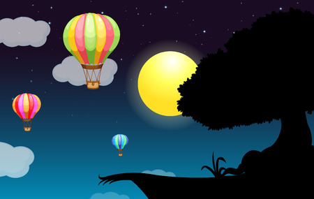 cliffs: Silhouette of a cliff with full moon illustration