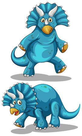 dinosaur clipart: Blue dinosaur with horns illustration