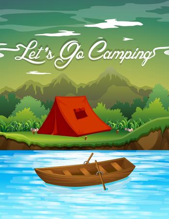 rowboat: Acampar suelo con la tienda y barco ilustraci�n Vectores