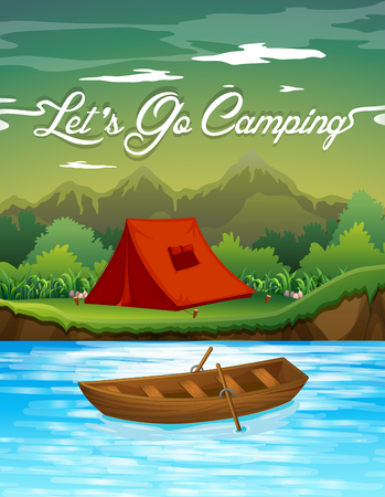 camping: Camping ground with tent and boat illustration