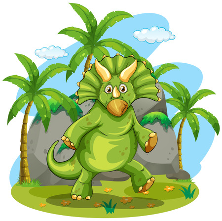 outoors: Green dinosaur standing on two feet illustration