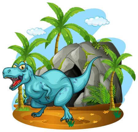 tiranosaurio rex: Dinosaurio de estar en la ilustración de la cueva Vectores