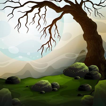 outoors: Nature scene with dead tree and fog illustration