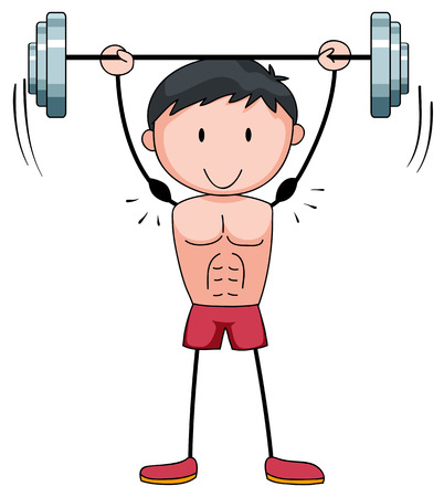 alone man: Man lifting weight alone illustration