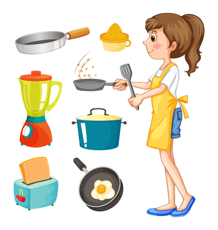 squeezer: Woman cooking and other kitchen objects illustration Illustration