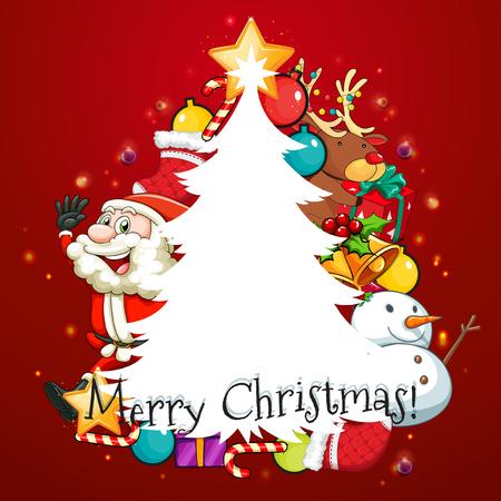 christmas tree illustration: Merry Christmas card with Santa and tree illustration