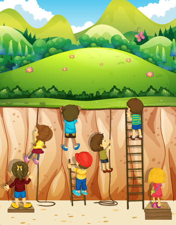 climbing: Children climbing up the cliff illustration Illustration