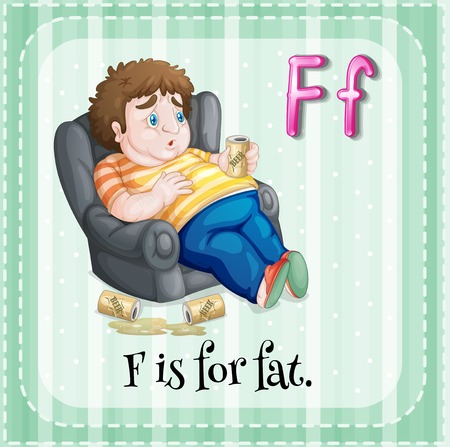 couch potato: Flashcard letter F is for fat illustration Illustration