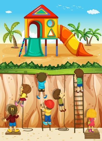 climbing ladder: Children climbing up the cliff illustration Illustration