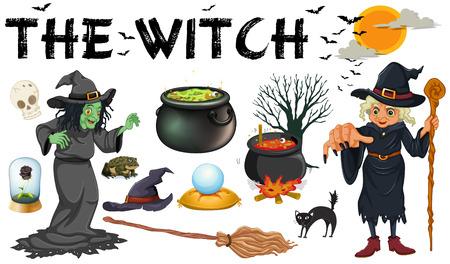 czarownica: Czarownica i czarna magia obiektów ilustracja