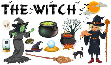 witch on broom: Witch and dark magic objects illustration