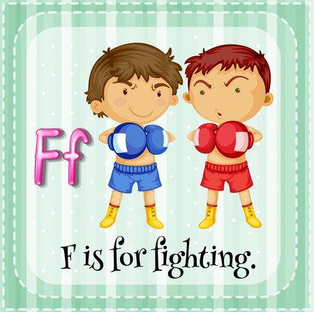 fighting: Flashcard letter F is for fighting illustration