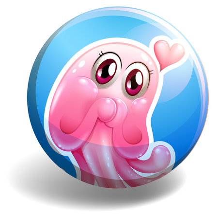 creature: Pink creature on round badge illustration Illustration
