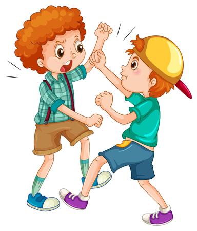 Twee jongens met elkaar vechten illustratie