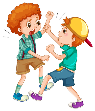 cartoon emotions: Two boys fighting each other illustration