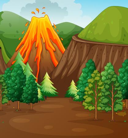 national parks: Nature scene with volcano eruption illustration Illustration