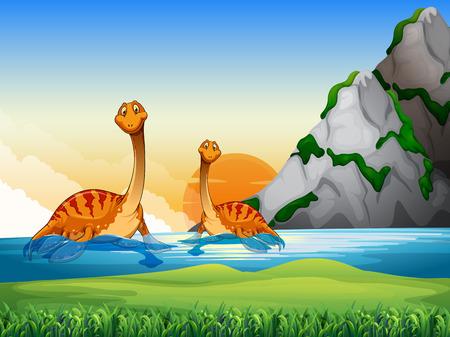 dinosauro: Due dinosauri nella illustrazione lago Vettoriali