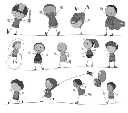 hulahoop: Boys and girls doing different activities illustration Illustration