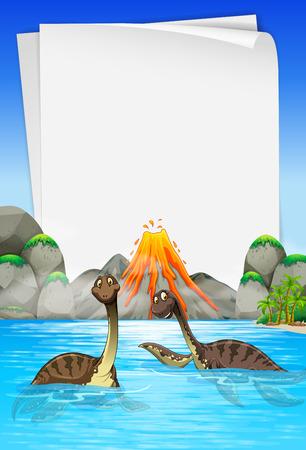 Brachiosaurus swimming in the lake illustration