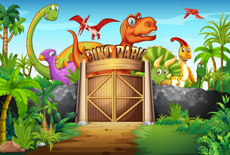 dinosaur animal: Dinosaurs living in the park illustration Illustration