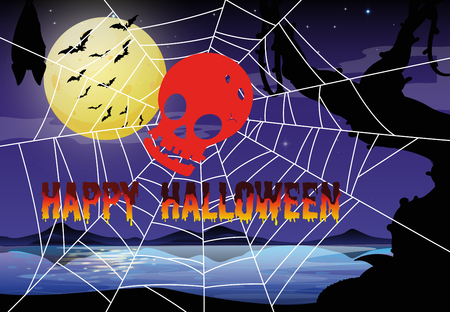 spider web: Halloween theme with spider web and skull illustration