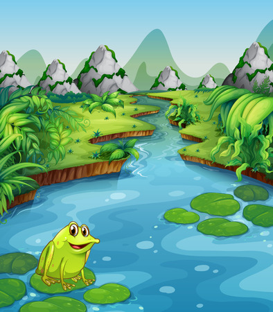 river bank: River scene with frog on leaf illustration
