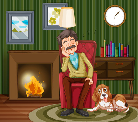 inside house: Old man napping on armchair illustration