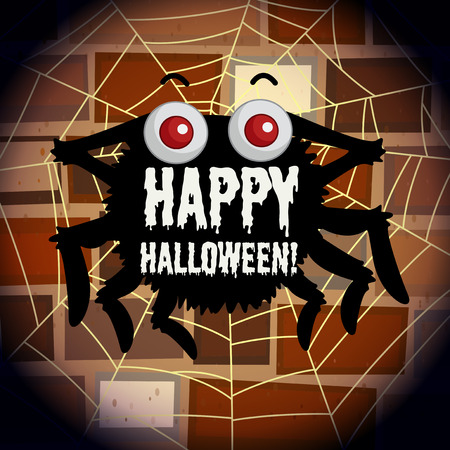 happy web: Happy halloween poster with spider web illustration