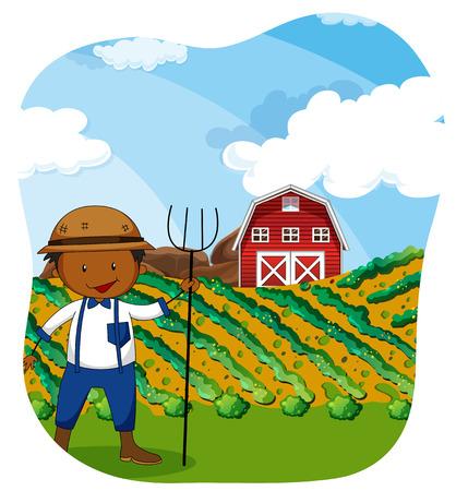 working people: Farmer working in the farmland illustration Illustration