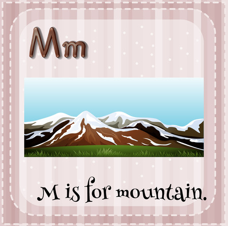 letter alphabet pictures: Flashcard letter M is for mountain illustration Illustration