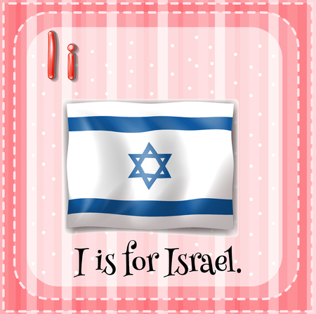 i kids: Flashcard letter I is for Israel illustration