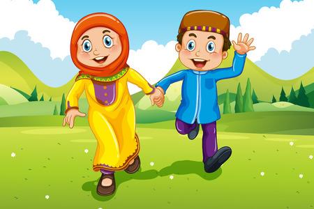 manos entrelazadas: Musulmana ni�o y ni�a de la mano ilustraci�n Vectores