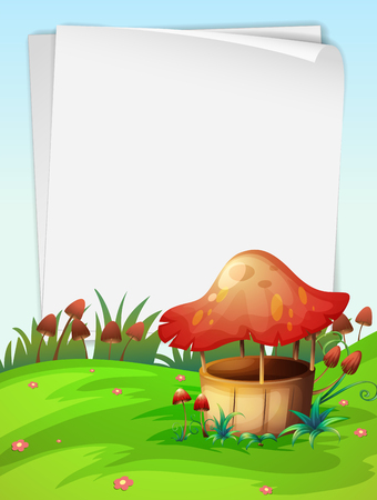 outoors: Blank paper with mushroom background illustration