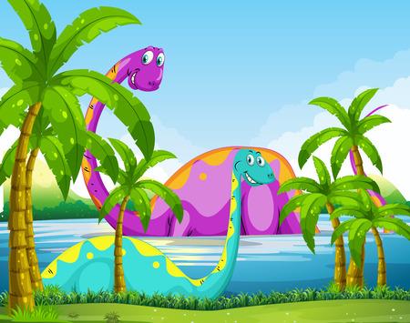 outoors: Dinosaur having fun in the lake illustration